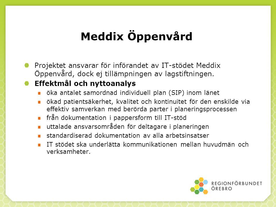Meddix Öppenvård Projektet ansvarar för införandet av IT-stödet Meddix Öppenvård, dock ej tillämpningen av lagstiftningen.