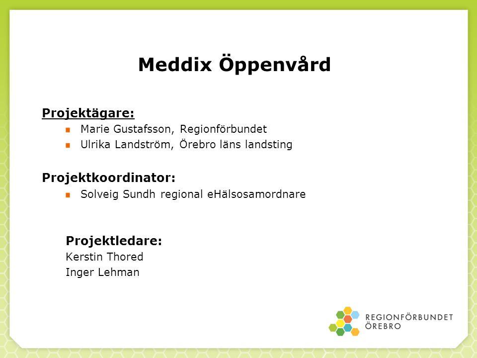 Meddix Öppenvård Projektägare: Projektkoordinator: Projektledare: