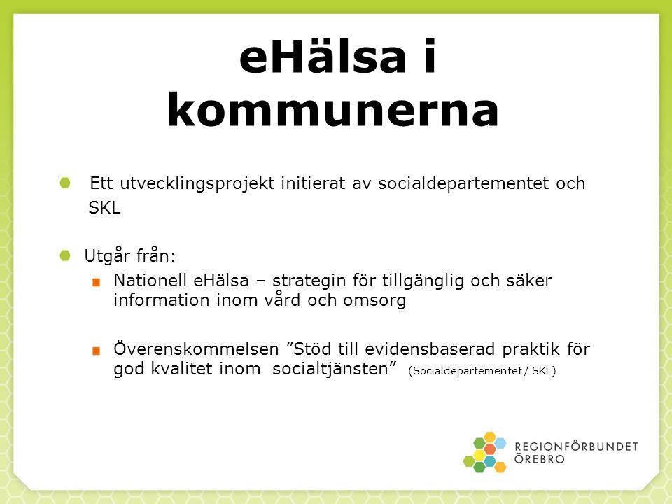eHälsa i kommunerna Ett utvecklingsprojekt initierat av socialdepartementet och. SKL. Utgår från: