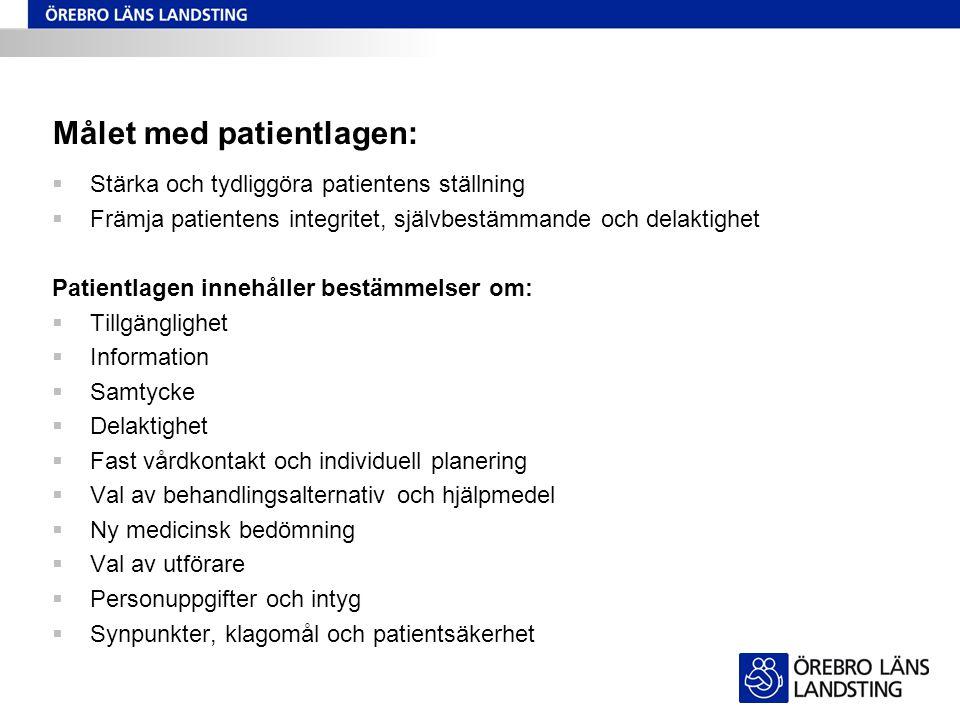 Målet med patientlagen: