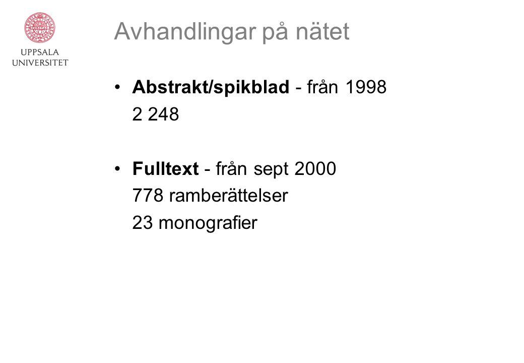 Avhandlingar på nätet Abstrakt/spikblad - från 1998 2 248