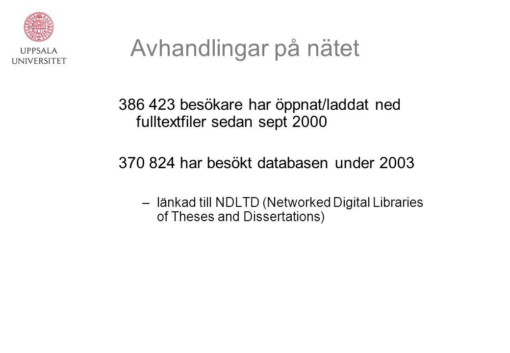 Avhandlingar på nätet 386 423 besökare har öppnat/laddat ned fulltextfiler sedan sept 2000. 370 824 har besökt databasen under 2003.