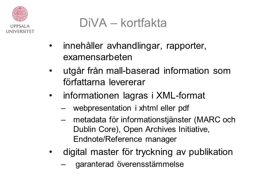 DiVA – kortfakta innehåller avhandlingar, rapporter, examensarbeten