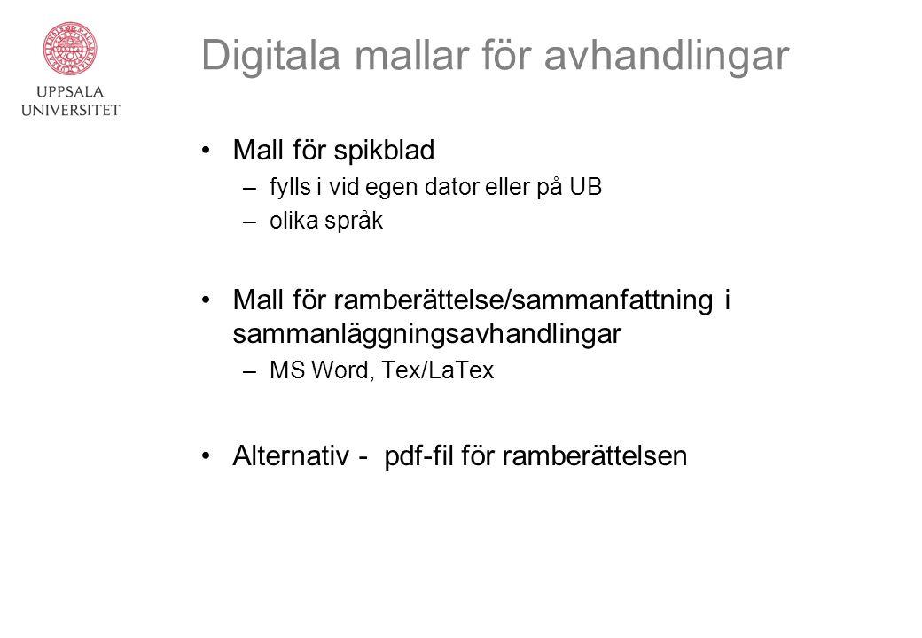 Digitala mallar för avhandlingar