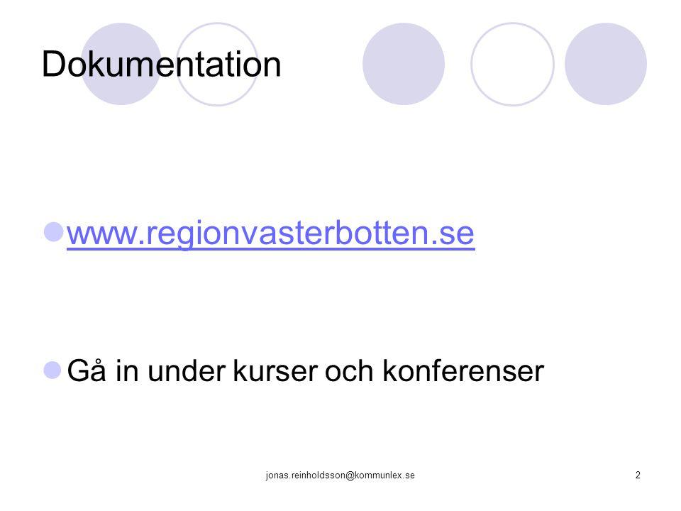 Dokumentation www.regionvasterbotten.se