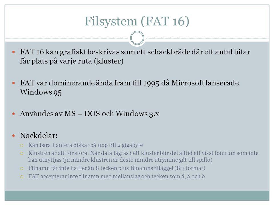 Filsystem (FAT 16) FAT 16 kan grafiskt beskrivas som ett schackbräde där ett antal bitar får plats på varje ruta (kluster)