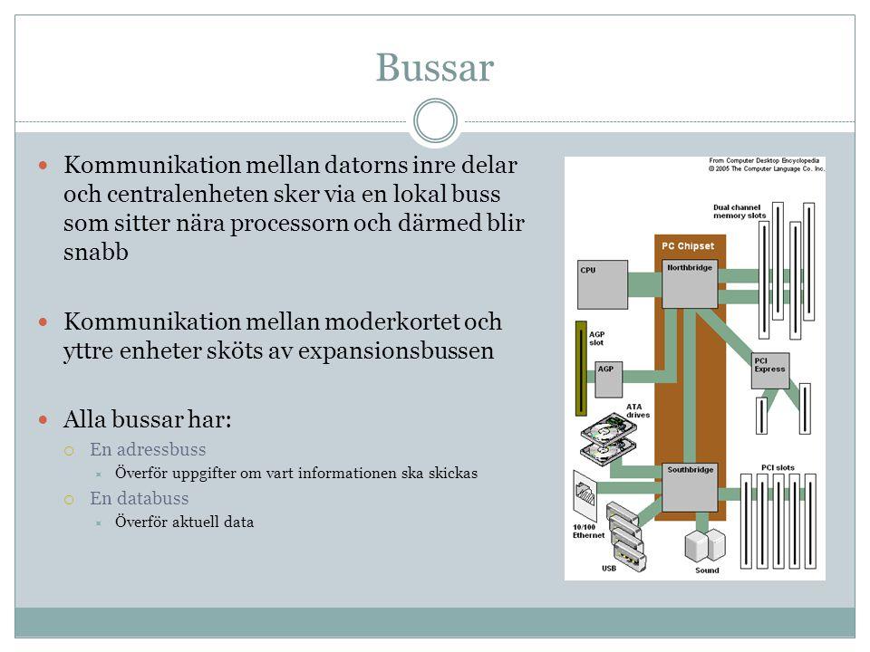 Bussar Kommunikation mellan datorns inre delar och centralenheten sker via en lokal buss som sitter nära processorn och därmed blir snabb.