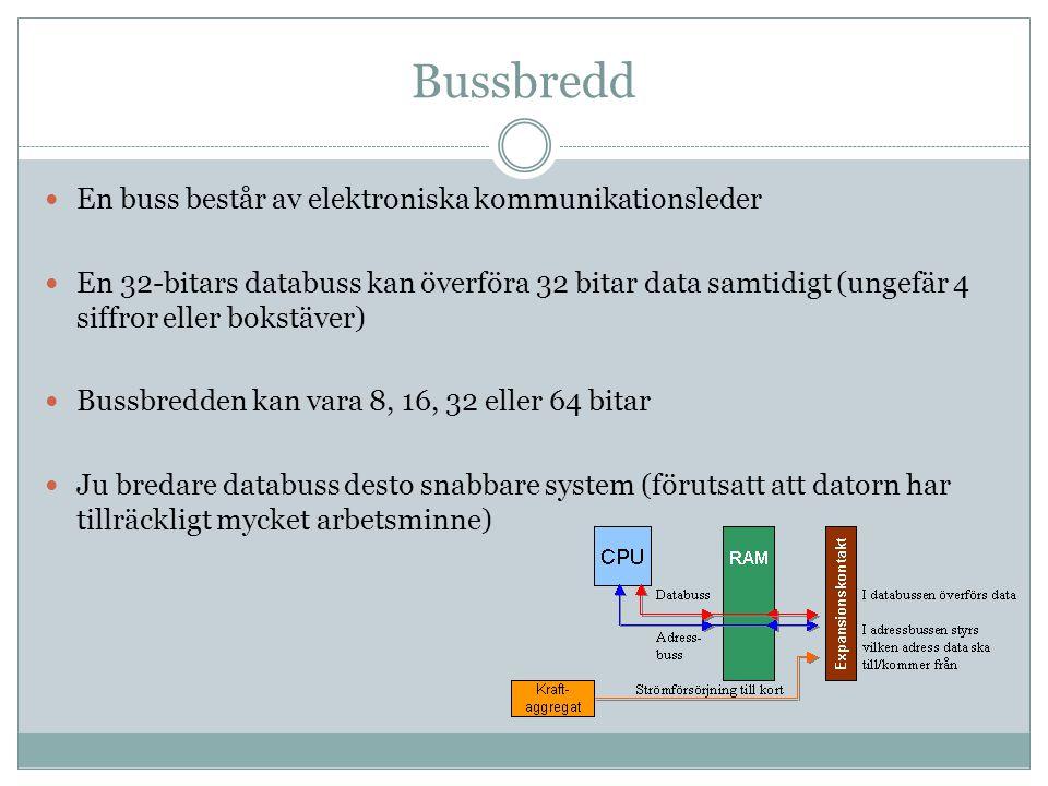 Bussbredd En buss består av elektroniska kommunikationsleder