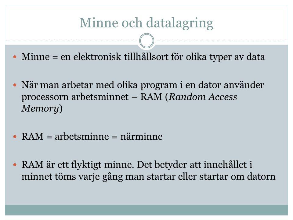 Minne och datalagring Minne = en elektronisk tillhållsort för olika typer av data.