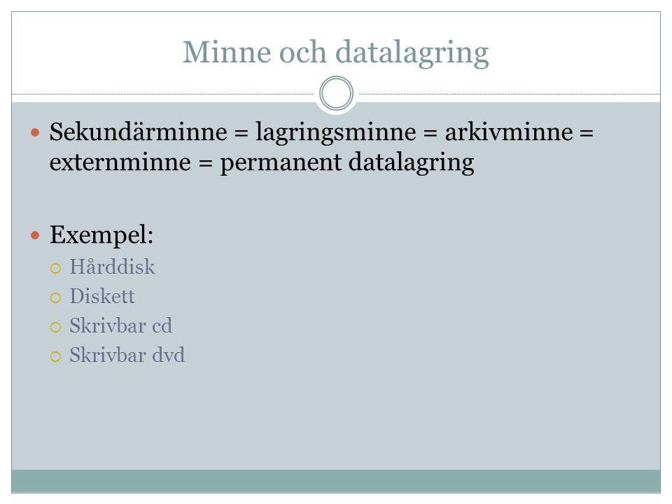 Minne och datalagring Sekundärminne = lagringsminne = arkivminne = externminne = permanent datalagring.