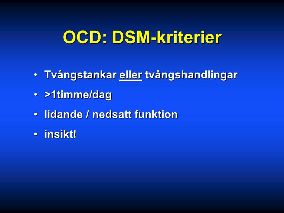 OCD: DSM-kriterier Tvångstankar eller tvångshandlingar >1timme/dag