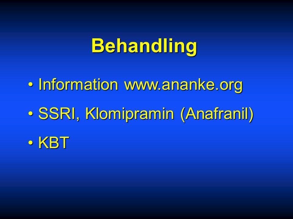 Behandling Information www.ananke.org SSRI, Klomipramin (Anafranil)