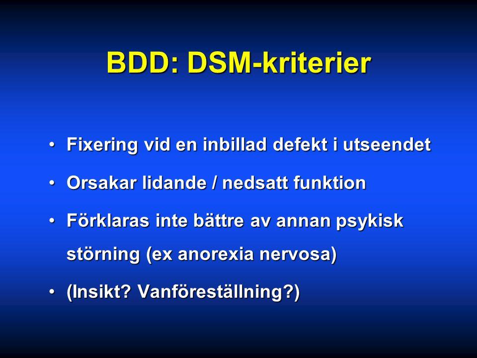 BDD: DSM-kriterier Fixering vid en inbillad defekt i utseendet