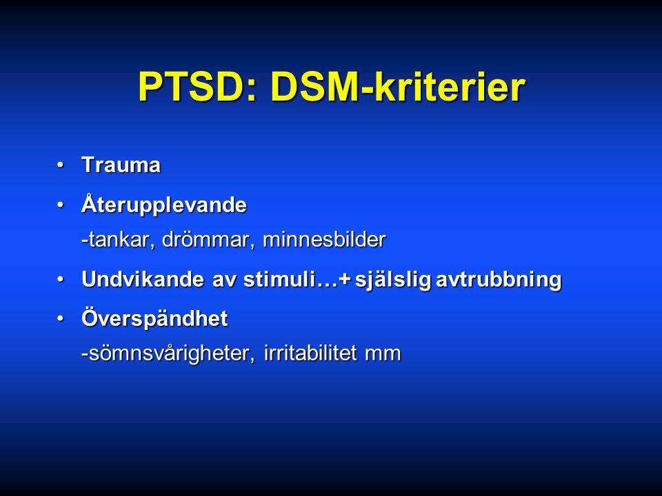 PTSD: DSM-kriterier Trauma