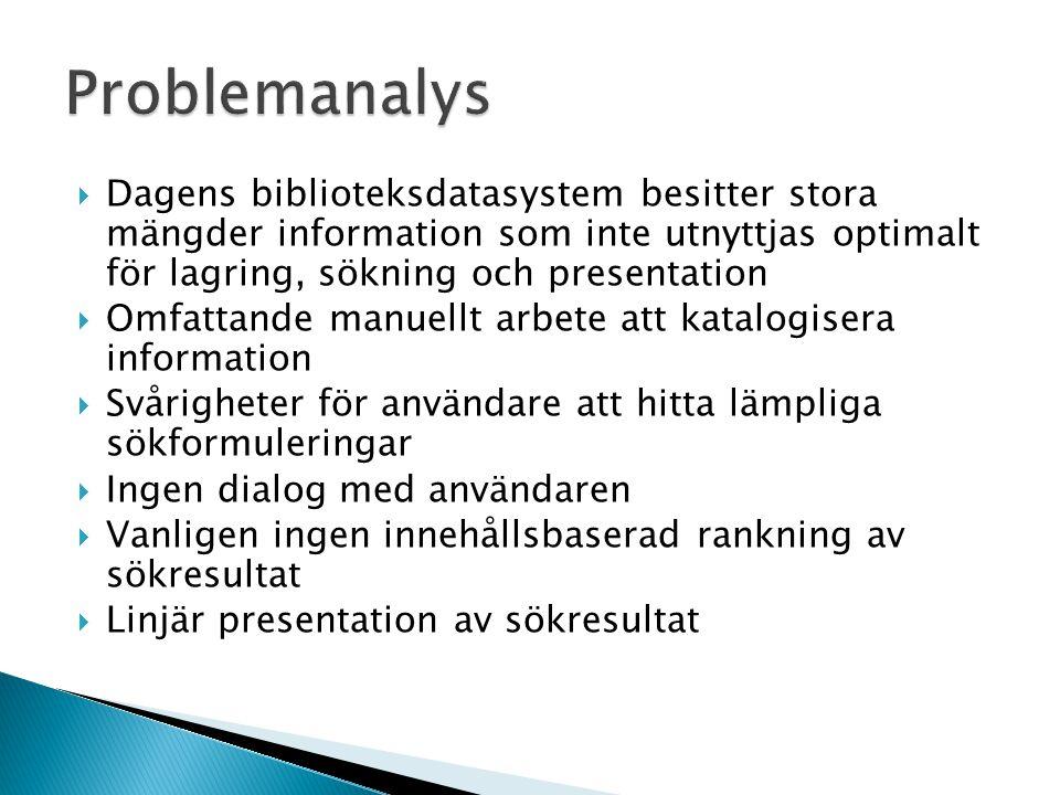 Problemanalys Dagens biblioteksdatasystem besitter stora mängder information som inte utnyttjas optimalt för lagring, sökning och presentation.
