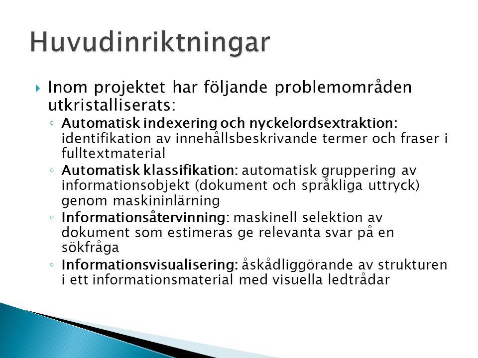 Huvudinriktningar Inom projektet har följande problemområden utkristalliserats: