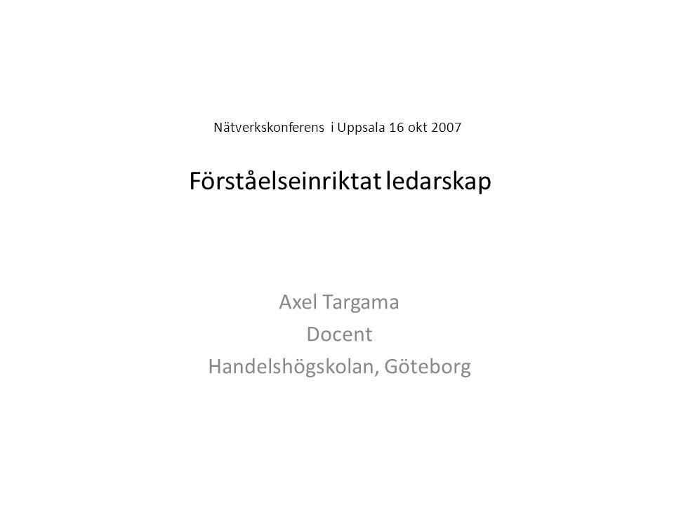Nätverkskonferens i Uppsala 16 okt 2007 Förståelseinriktat ledarskap