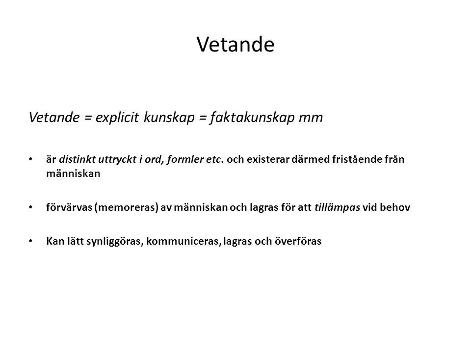 Vetande Vetande = explicit kunskap = faktakunskap mm