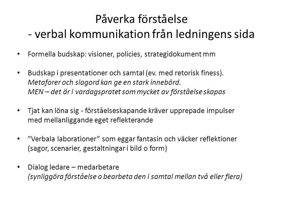 Påverka förståelse - verbal kommunikation från ledningens sida