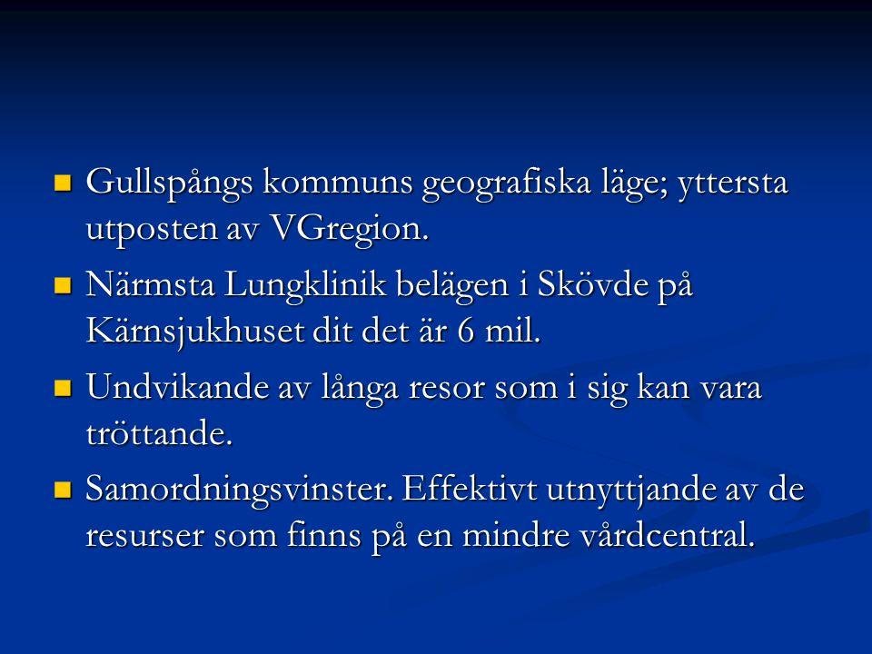 Gullspångs kommuns geografiska läge; yttersta utposten av VGregion.