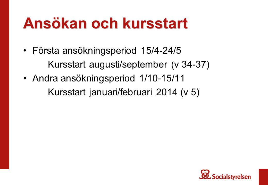 Ansökan och kursstart Första ansökningsperiod 15/4-24/5