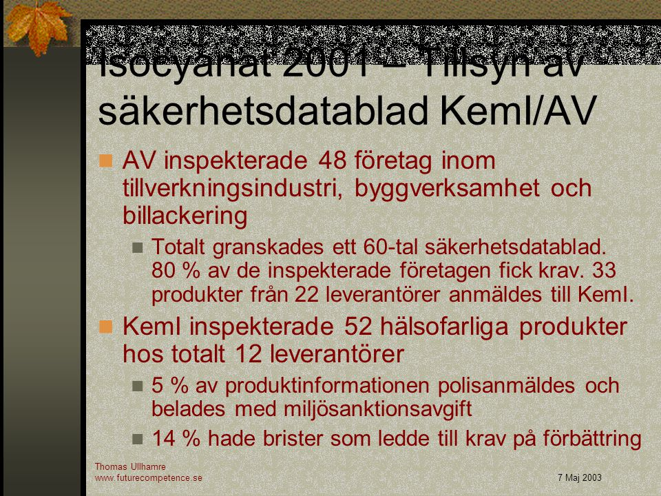 Isocyanat 2001 – Tillsyn av säkerhetsdatablad KemI/AV