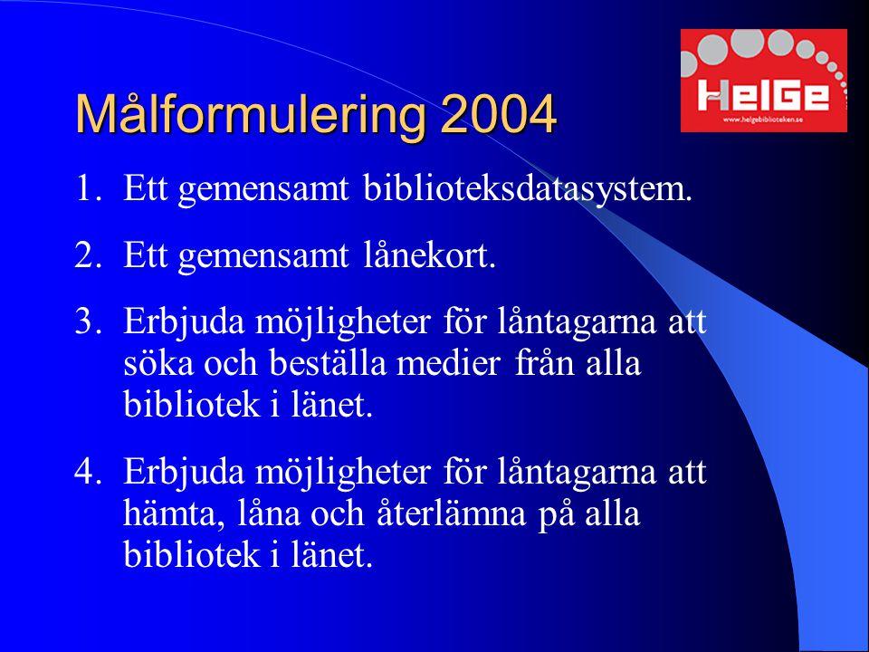 Målformulering 2004 Ett gemensamt biblioteksdatasystem.