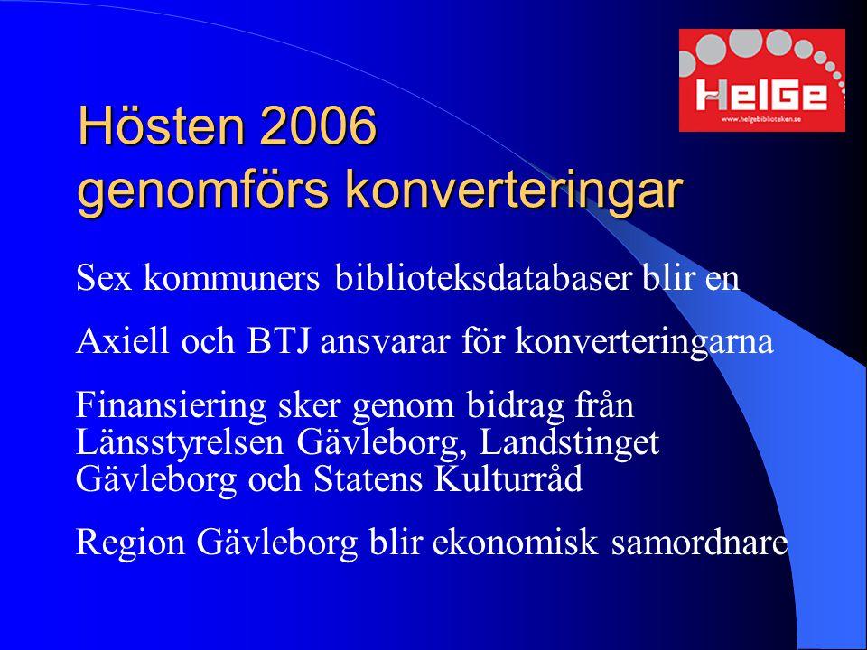 Hösten 2006 genomförs konverteringar