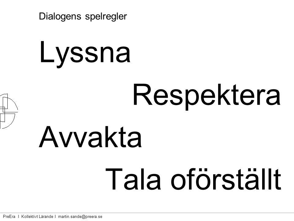 Lyssna Respektera Avvakta Tala oförställt Dialogens spelregler