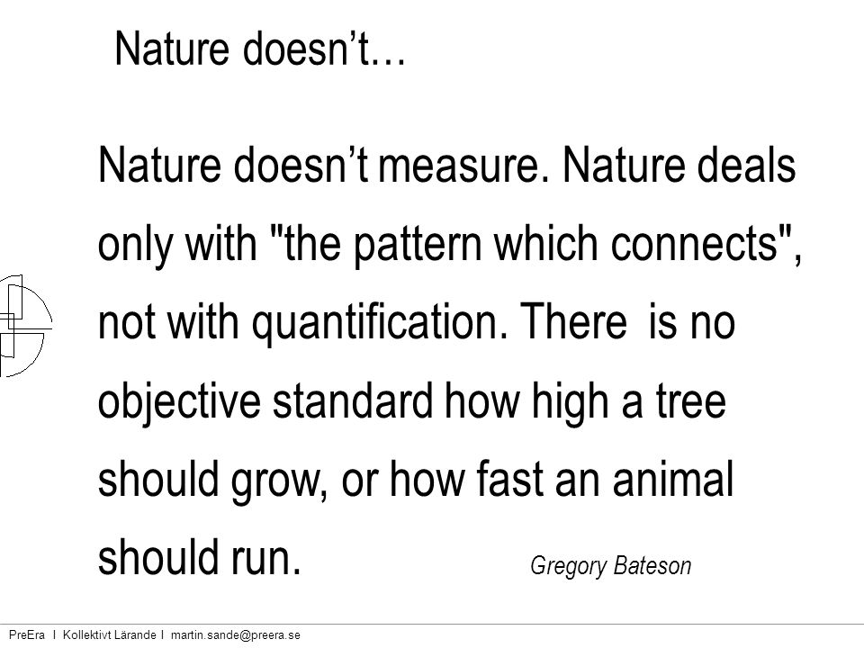 Nature doesn't…