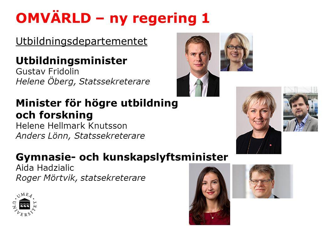 OMVÄRLD – ny regering 1 Utbildningsdepartementet Utbildningsminister
