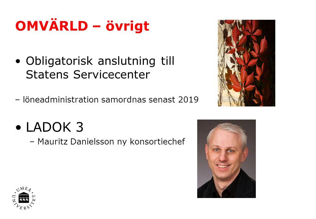 OMVÄRLD – övrigt Obligatorisk anslutning till Statens Servicecenter. – löneadministration samordnas senast 2019.