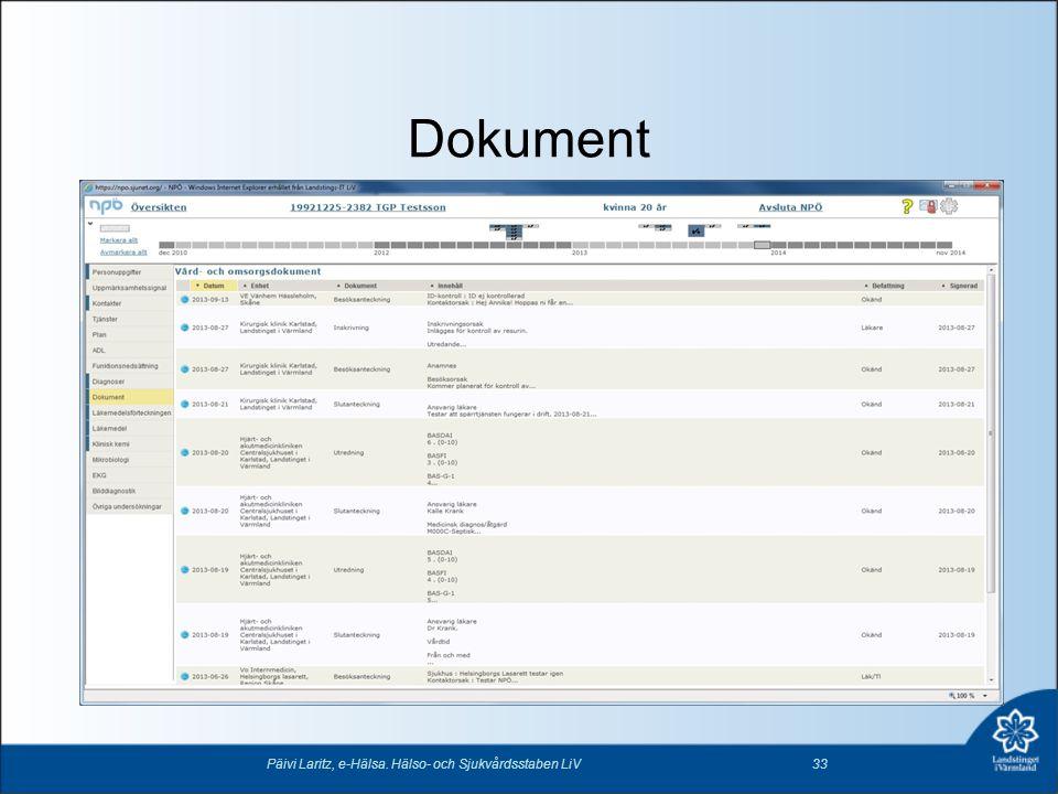 Dokument Päivi Laritz, e-Hälsa. Hälso- och Sjukvårdsstaben LiV