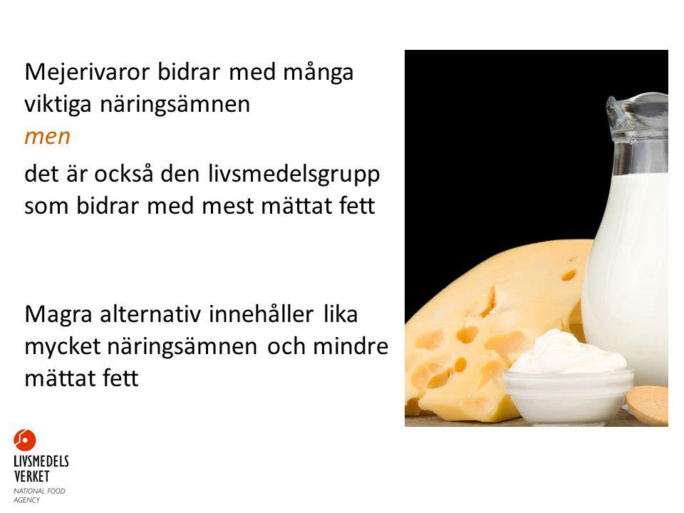 Mejerivaror bidrar med många viktiga näringsämnen men det är också den livsmedelsgrupp som bidrar med mest mättat fett Magra alternativ innehåller lika mycket näringsämnen och mindre mättat fett