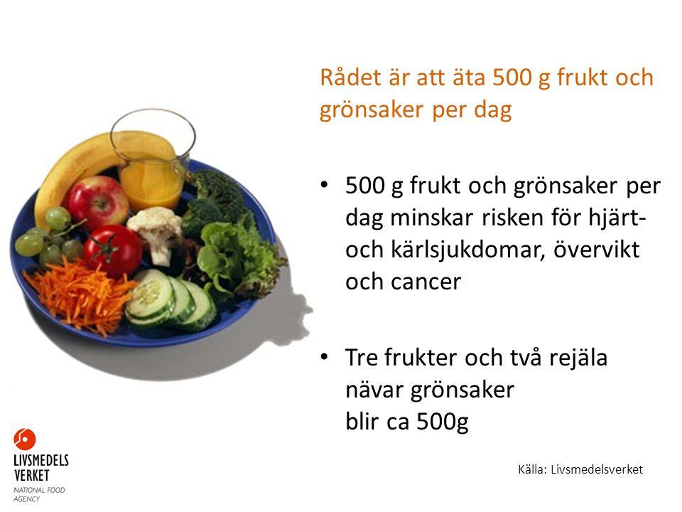Rådet är att äta 500 g frukt och grönsaker per dag