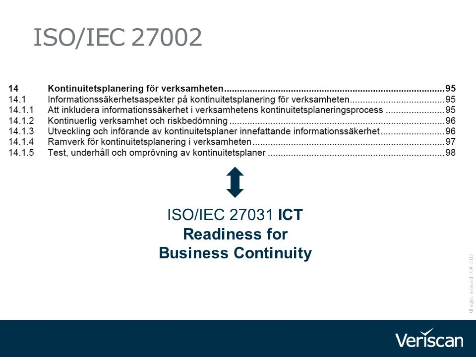 ISO/IEC 27031 ICT Readiness for Business Continuity