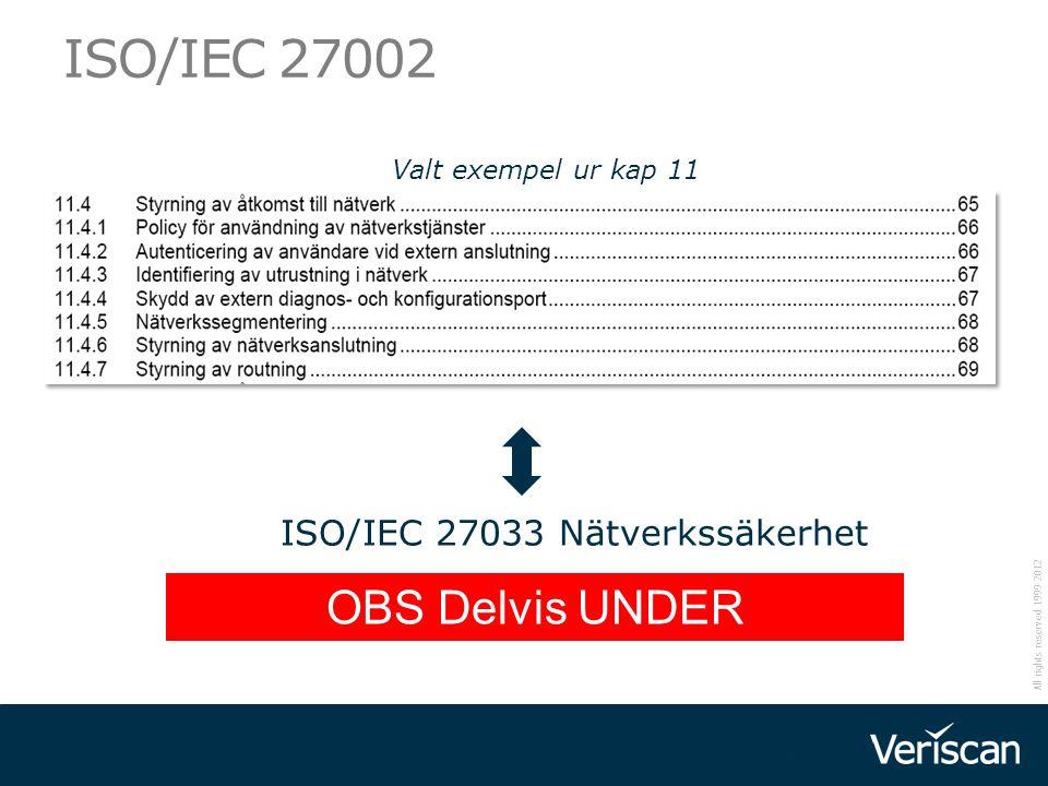 ISO/IEC 27002 OBS Delvis UNDER UTVECKLING