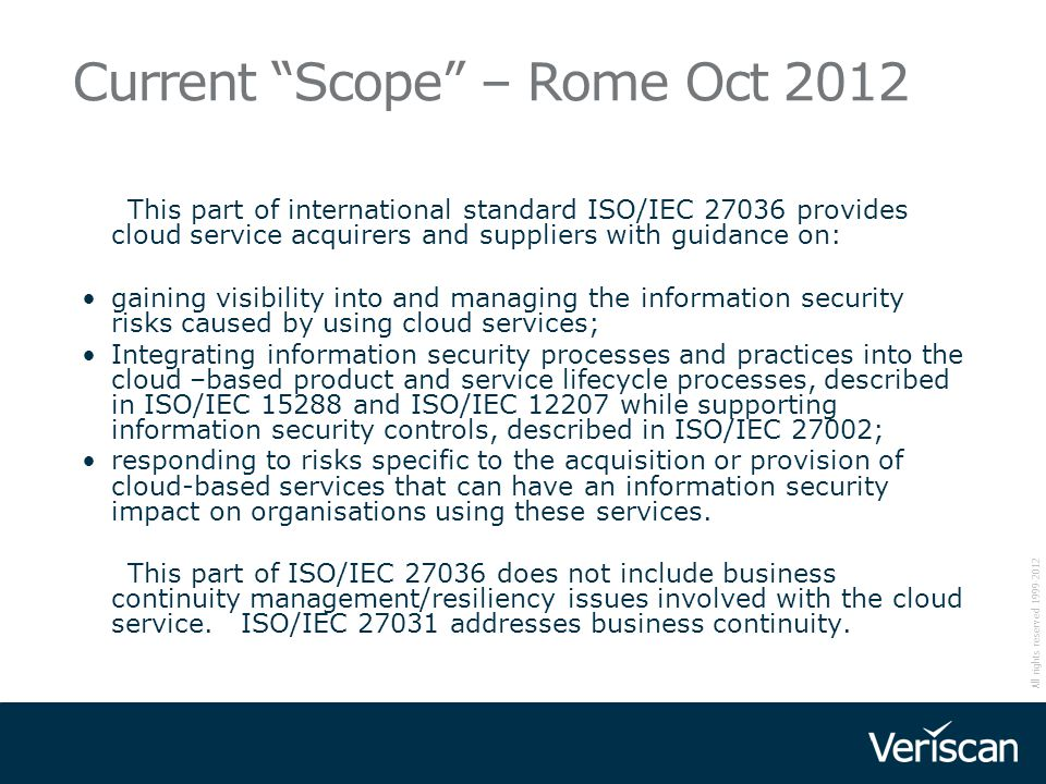 Current Scope – Rome Oct 2012