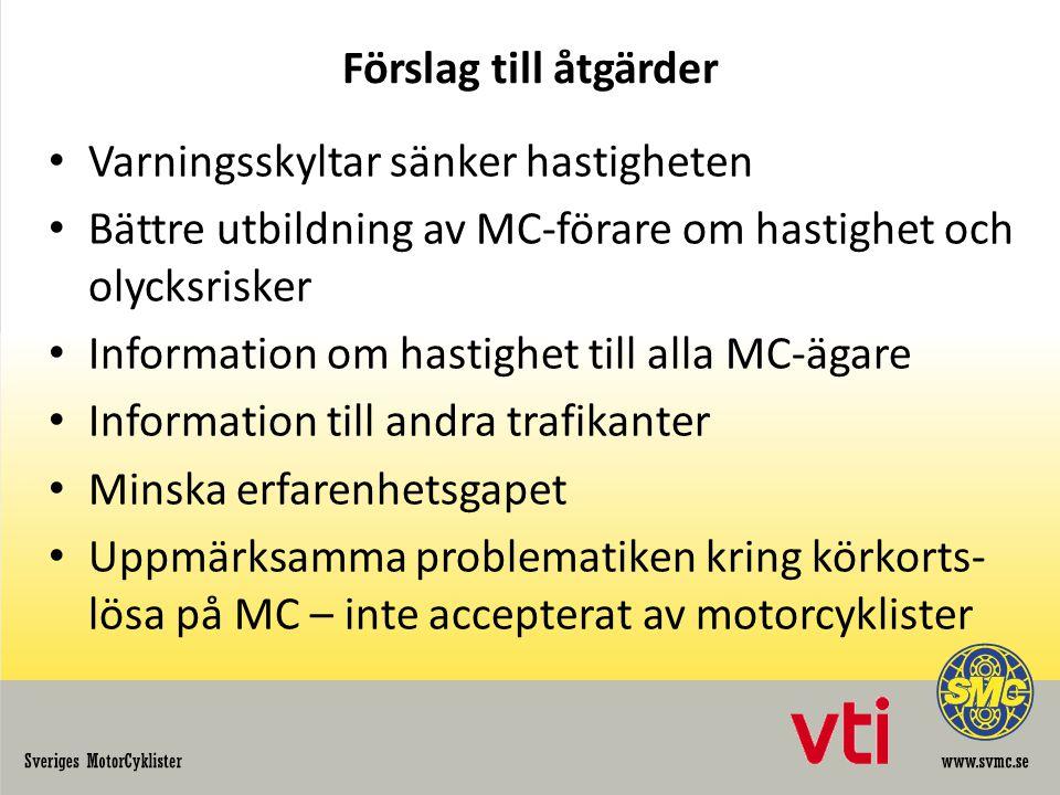 Förslag till åtgärder Varningsskyltar sänker hastigheten. Bättre utbildning av MC-förare om hastighet och olycksrisker.