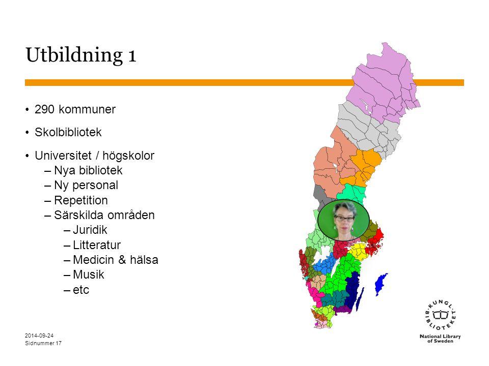 Utbildning 1 290 kommuner Skolbibliotek Universitet / högskolor