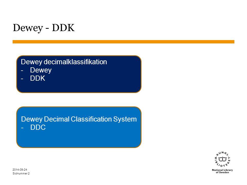 Dewey - DDK Dewey decimalklassifikation Dewey DDK