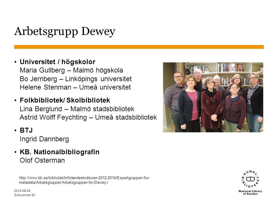 Arbetsgrupp Dewey Universitet / högskolor Maria Gullberg – Malmö högskola Bo Jernberg – Linköpings universitet Helene Stenman – Umeå universitet.