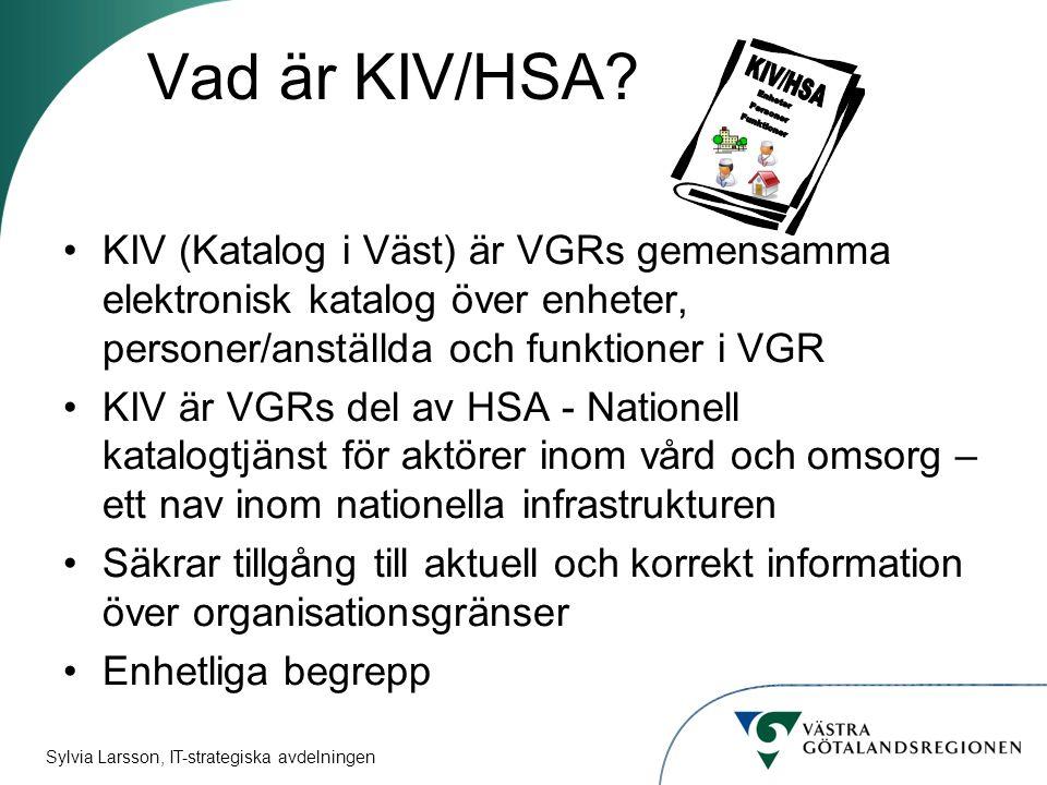 Vad är KIV/HSA KIV/HSA. Enheter. Personer. Funktioner.