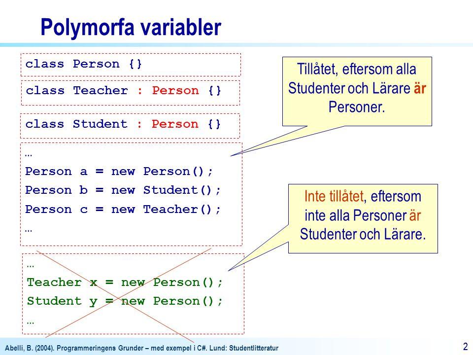 Polymorfa variabler class Person {} Tillåtet, eftersom alla Studenter och Lärare är Personer. class Teacher : Person {}