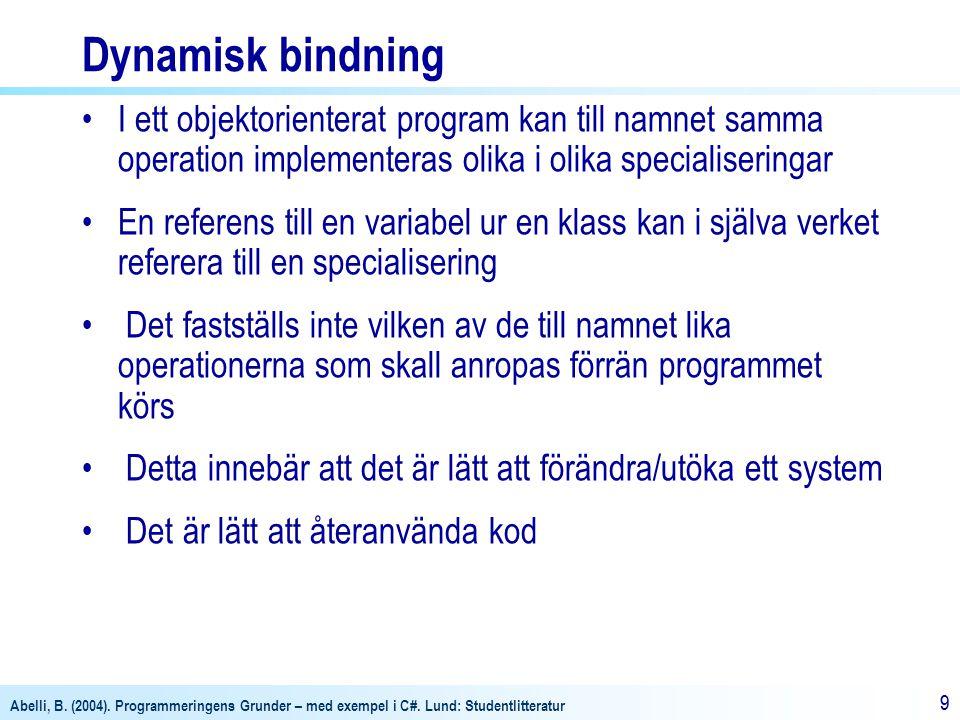 Dynamisk bindning I ett objektorienterat program kan till namnet samma operation implementeras olika i olika specialiseringar.