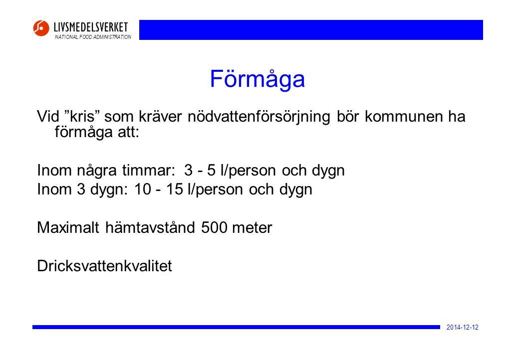 2017-04-07 Förmåga. Vid kris som kräver nödvattenförsörjning bör kommunen ha förmåga att: Inom några timmar: 3 - 5 l/person och dygn.