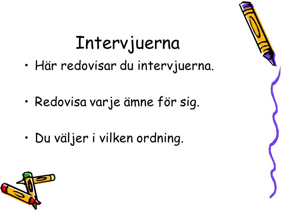 Intervjuerna Här redovisar du intervjuerna.