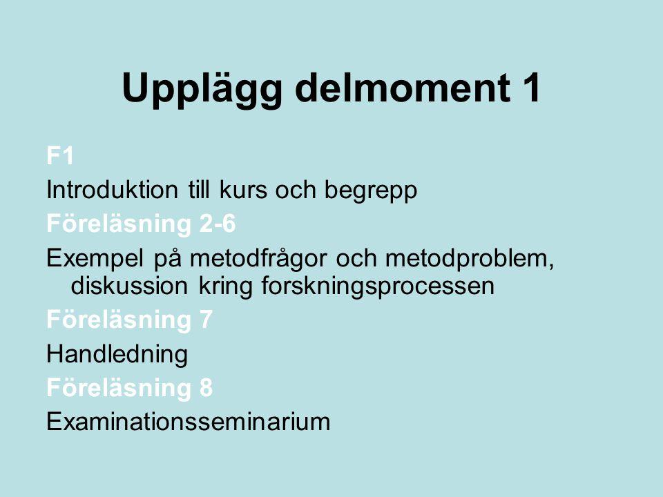 Upplägg delmoment 1 F1 Introduktion till kurs och begrepp