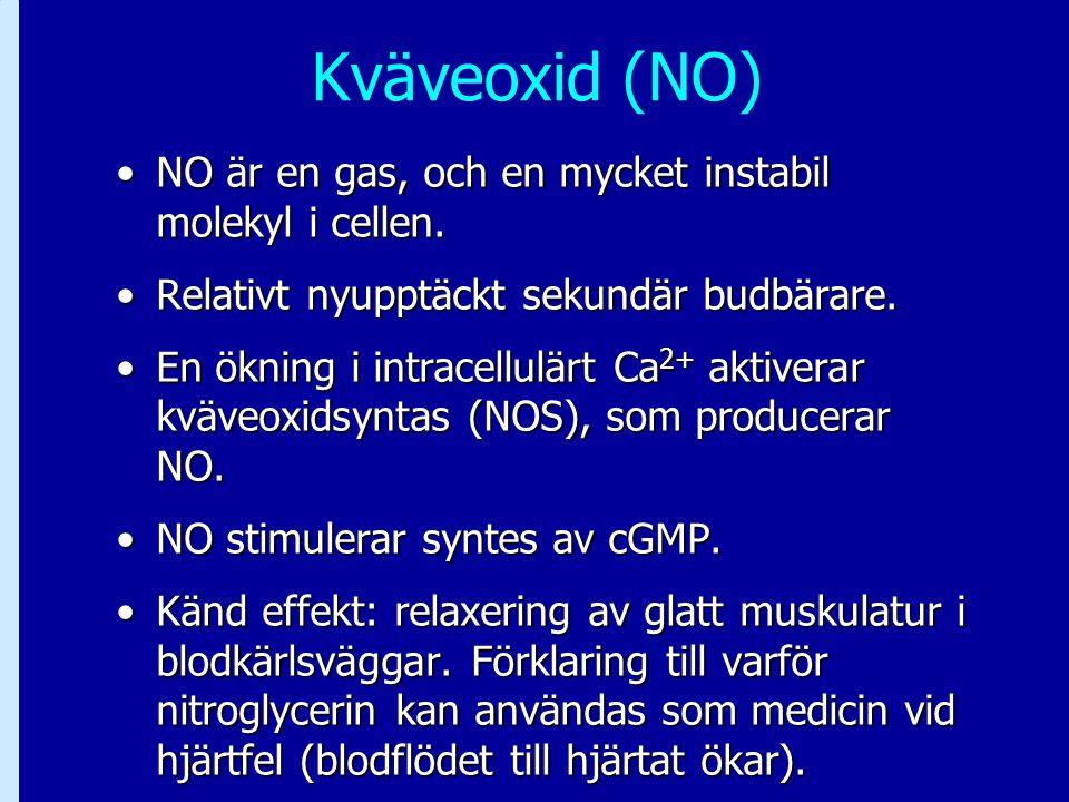 Kväveoxid (NO) NO är en gas, och en mycket instabil molekyl i cellen.