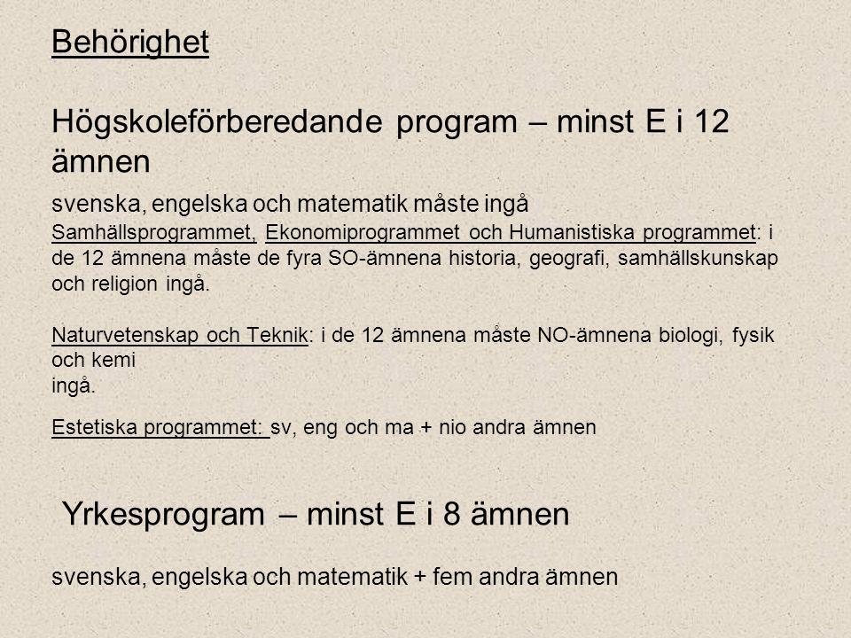 Behörighet Högskoleförberedande program – minst E i 12 ämnen svenska, engelska och matematik måste ingå Samhällsprogrammet, Ekonomiprogrammet och Humanistiska programmet: i de 12 ämnena måste de fyra SO-ämnena historia, geografi, samhällskunskap och religion ingå.